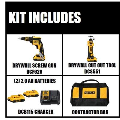 20-Volt MAX XR Lithium-Ion Cordless Drywall Screwgun/Cut-out Tool Combo Kit (2-Tool) with (2) Batteries 2Ah and Charger