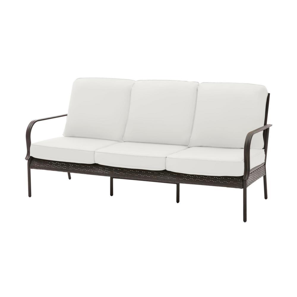 Hampton Bay Becker Dark Mocha Steel Outdoor Patio Sofa with CushionGuard  Chalk White Cushions