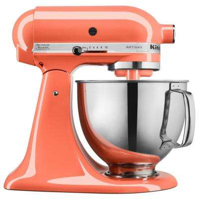 Artisan 5 Qt. 10-Speed Bird of Paradise Stand Mixer with Flat Beater, Wire Whip and Dough Hook Attachments