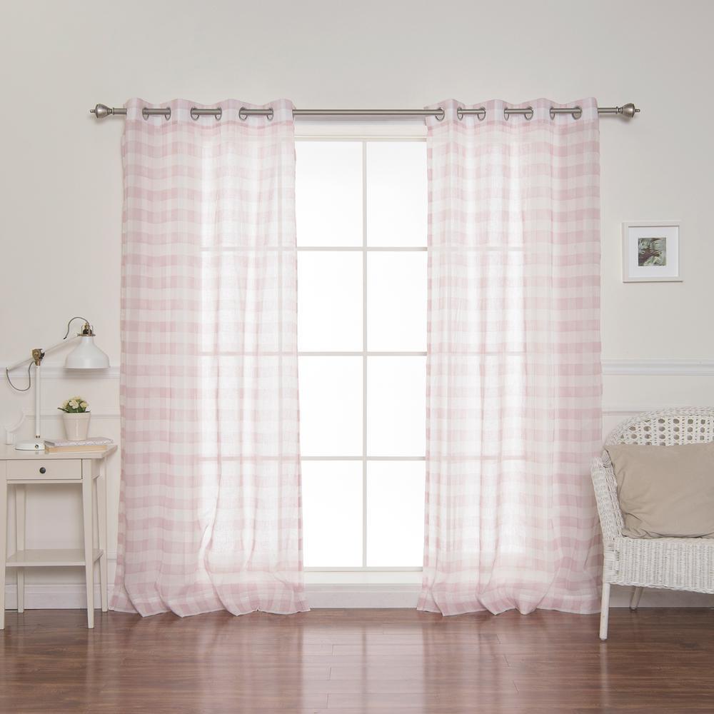 84 in. L Sheer Watercolor Plaid Grommet Curtains in Pink (2-Pack)