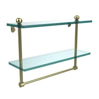 16 in. L  x 12 in. H  x 5 in. W 2-Tier Clear Glass Bathroom Shelf with Towel Bar in Satin Brass