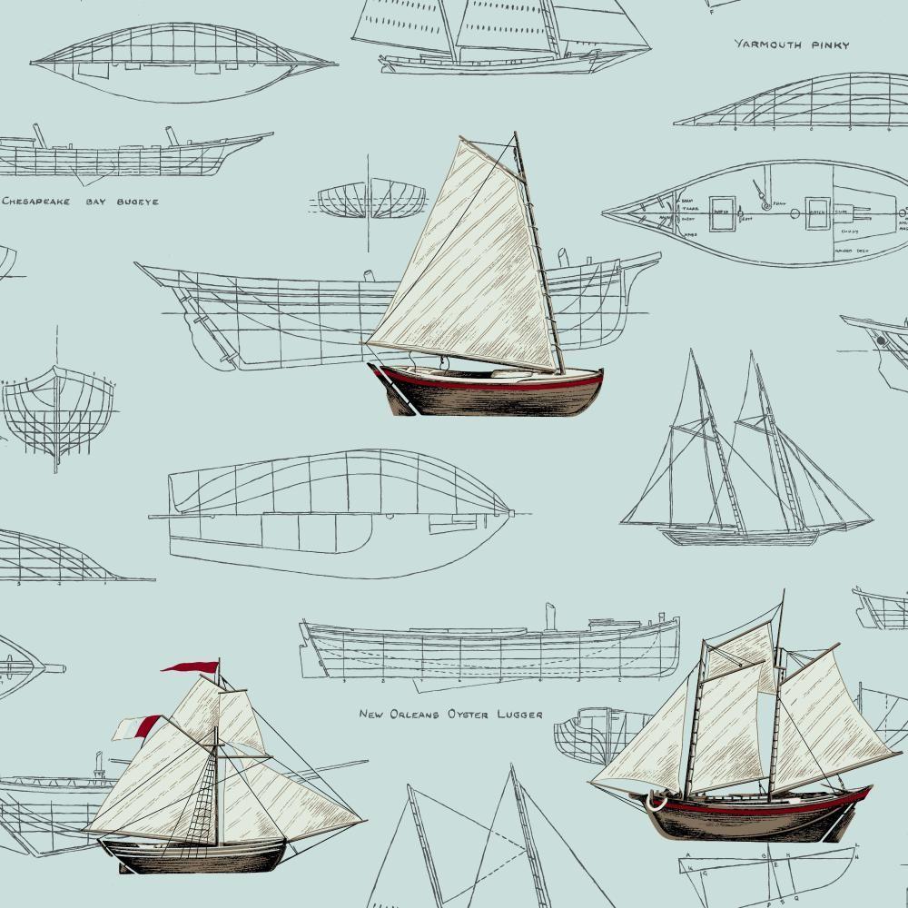 York Wallcoverings Nautical Living Pond Yachts Wallpaper