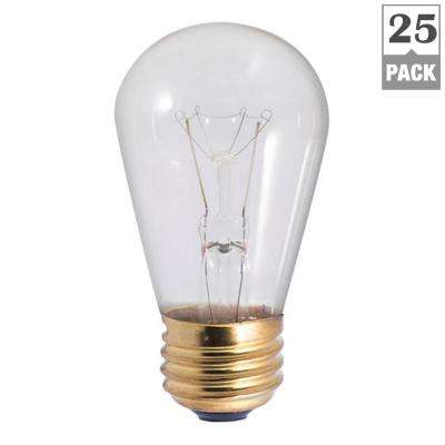 11-Watt S14 Clear Dimmable Warm White Light Incandescent Light Bulb (25-Pack)