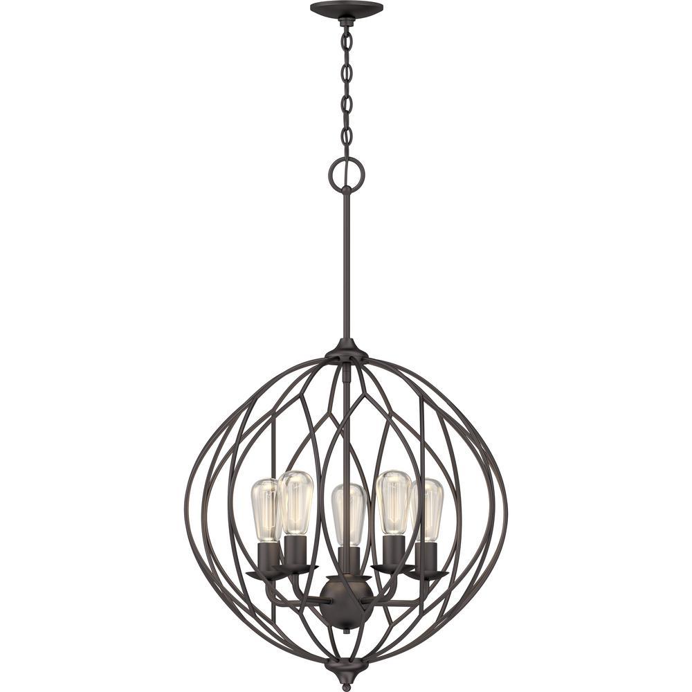 5-Light Indoor Antique Bronze Sculptural Round / Globe / Orb / Sphere Hanging Pendant Chandelier
