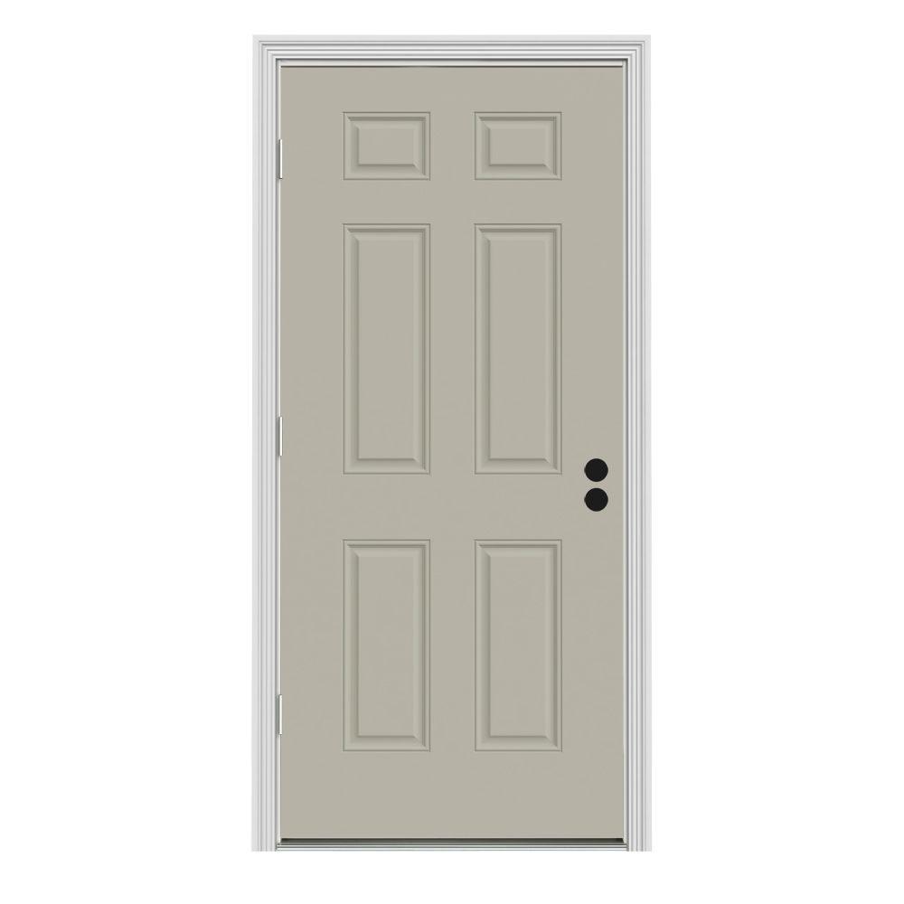 JELD-WEN 32 in. x 80 in. 6-Panel Desert Sand Painted Steel Prehung Right-Hand Outswing Front Door w/Brickmould