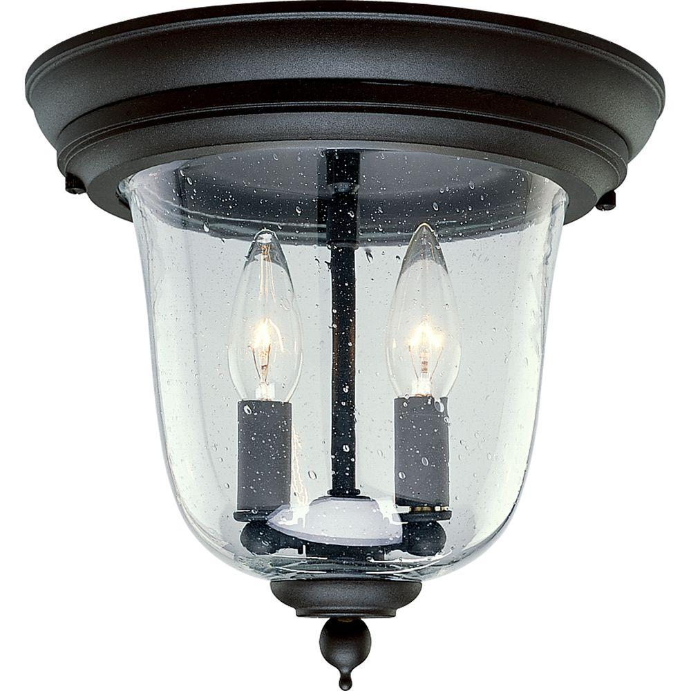 Ashmore Collection 2-Light Textured Black Outdoor Flushmount