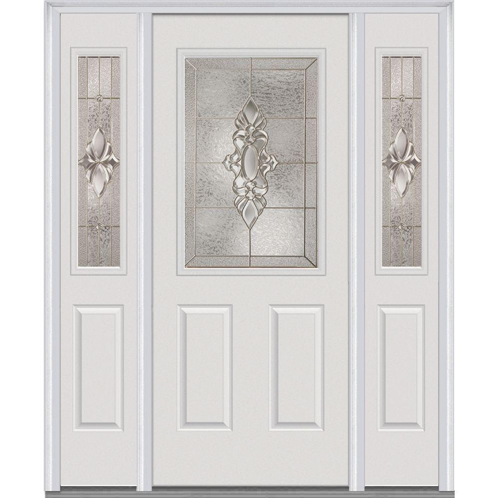64 in. x 80 in. Heirloom Master Left-Hand 1/2-Lite Decorative Painted