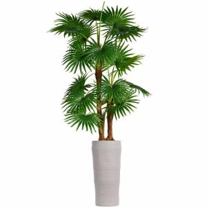 69 in. Tall Fan Palm Tree Artificial Dcor Faux Burlap Kit and Fiberstone Planter