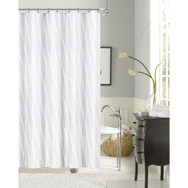 undefined Morocco 72 in. White Shrink Yarn Fabric Shower Curtain