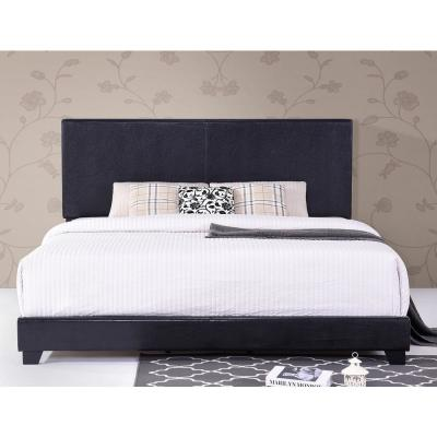 Vienna Black King Size Faux Leather Upholstered Platform Bed with Wooden Slats
