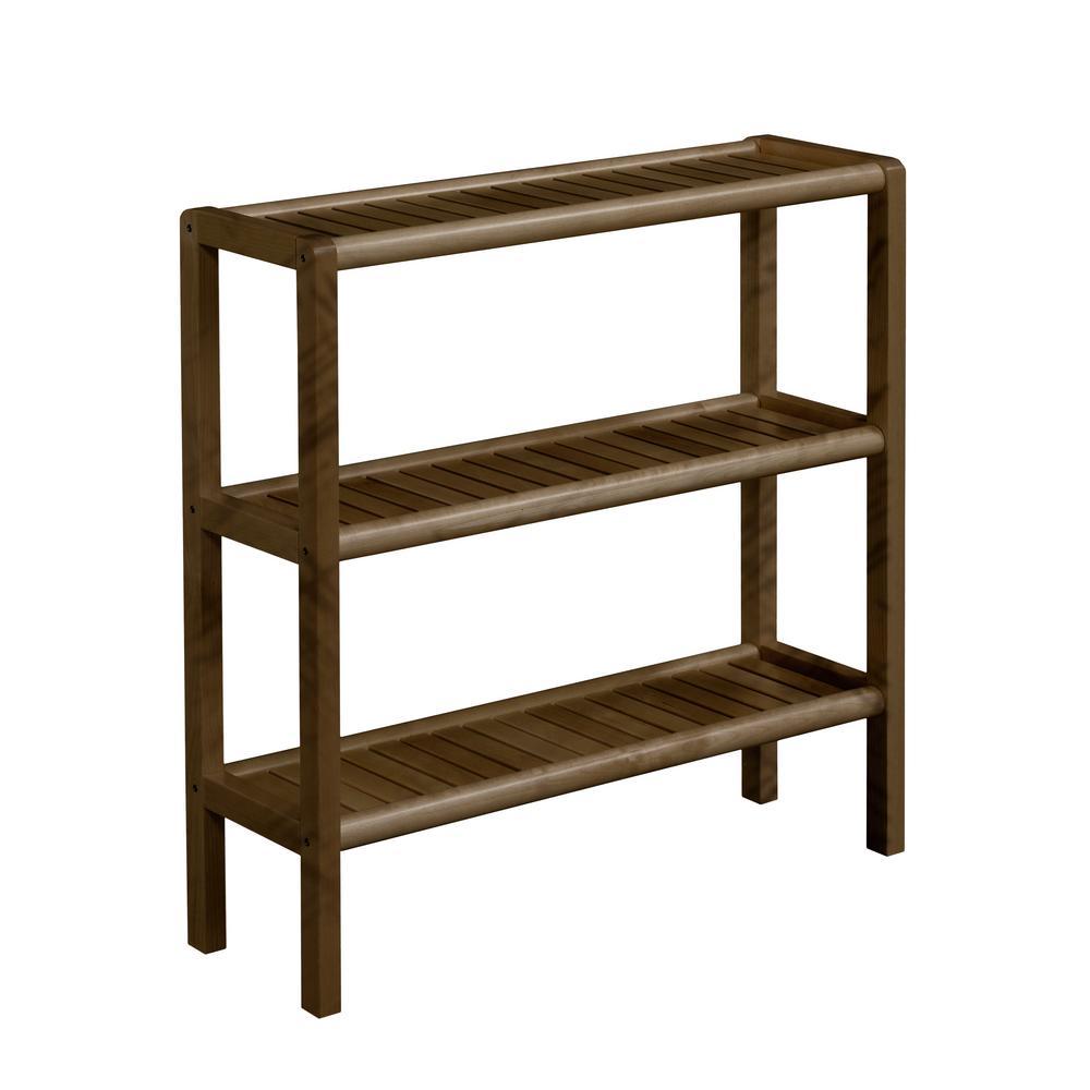 29 in. Chestnut Wood 3-shelf Accent Bookcase