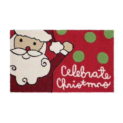 Santa Celebrates 18 in. x 30 in. Handhooked Holiday Rug