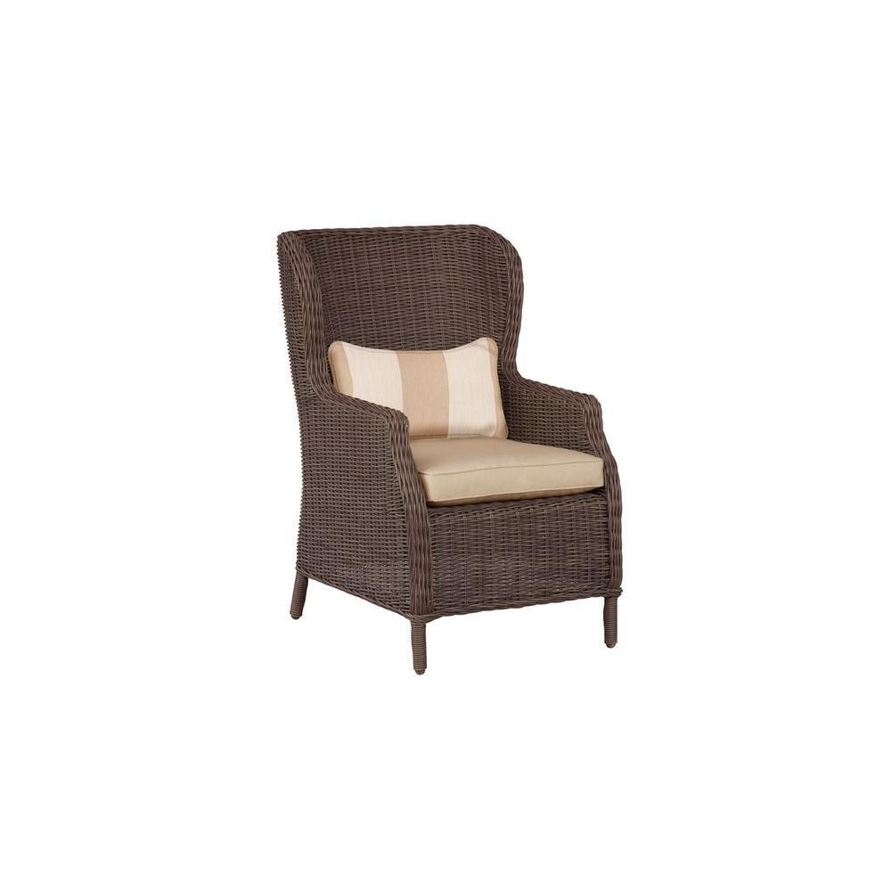 Brown Jordan Vineyard Patio Cafe Chair in Harvest with Regency Wren Lumbar Pillow (2-Pack) -- CUSTOM