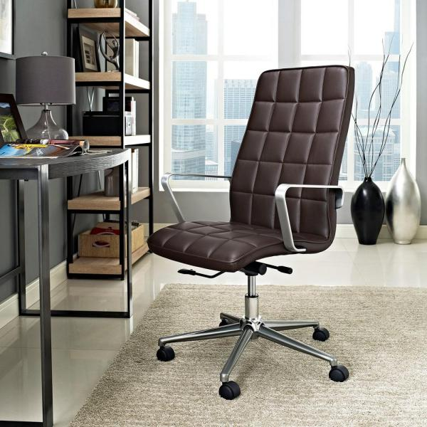 MODWAY Tile Highback Office Chair in Brown