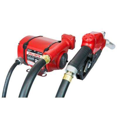 FILL-RITE 12V/24V 25 GPM 1/3 HP Nextec Fuel Transfer Pump w/Discharge Hose Power Cord and Automatic Nozzle (Foot Mount)