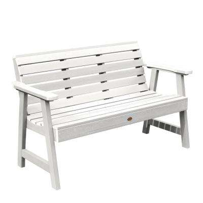 Weatherly 48 in. 2-Person WhiteRecycled Plastic Outdoor Garden Bench