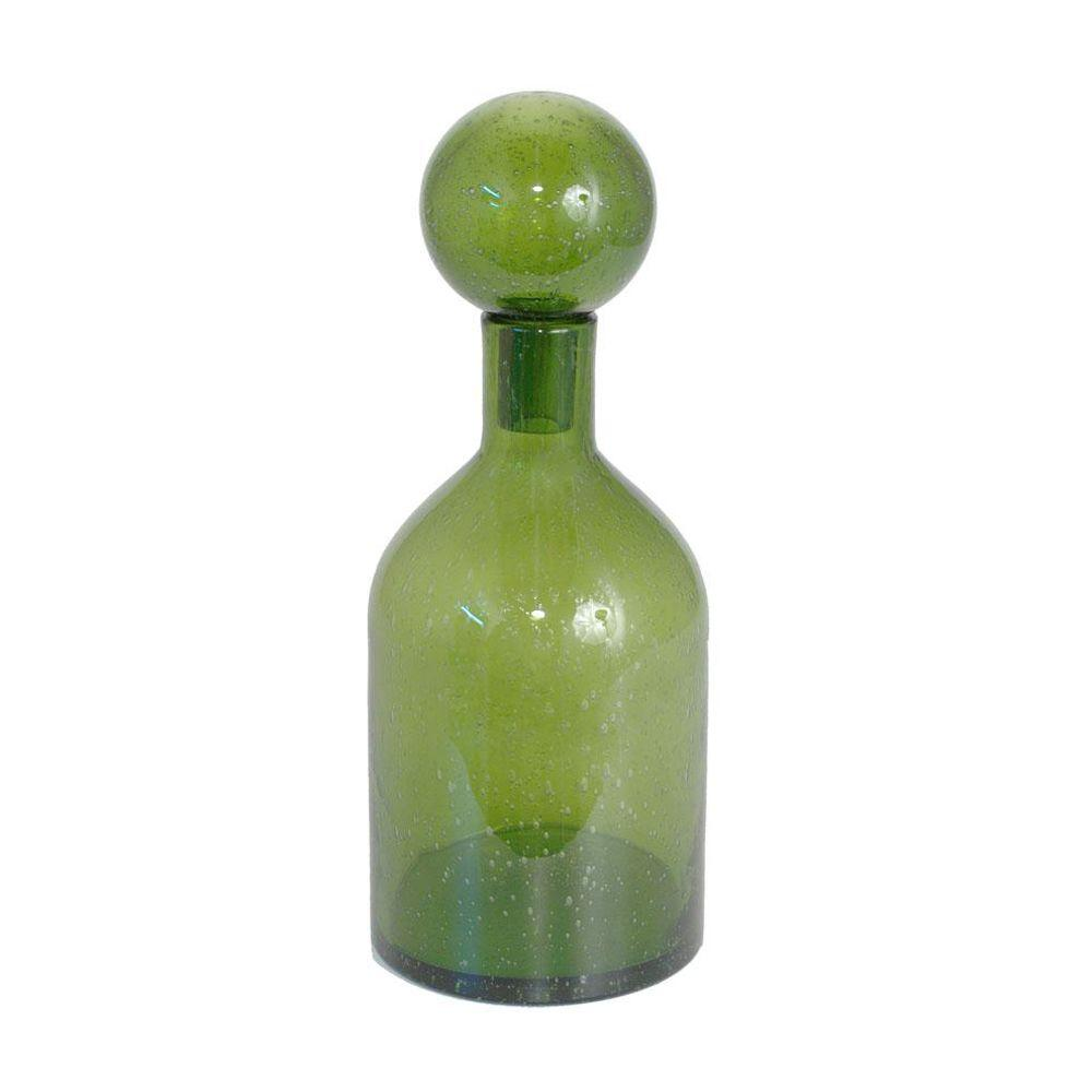 Home Decorators Collection 15.5 in. Maeve Green Covered Glass Bottle