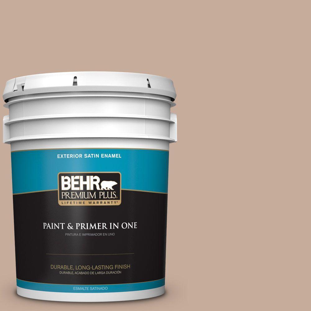 BEHR Premium Plus 5-gal. #ecc-57-1 California Stucco Satin Enamel Exterior Paint, Browns/Tans
