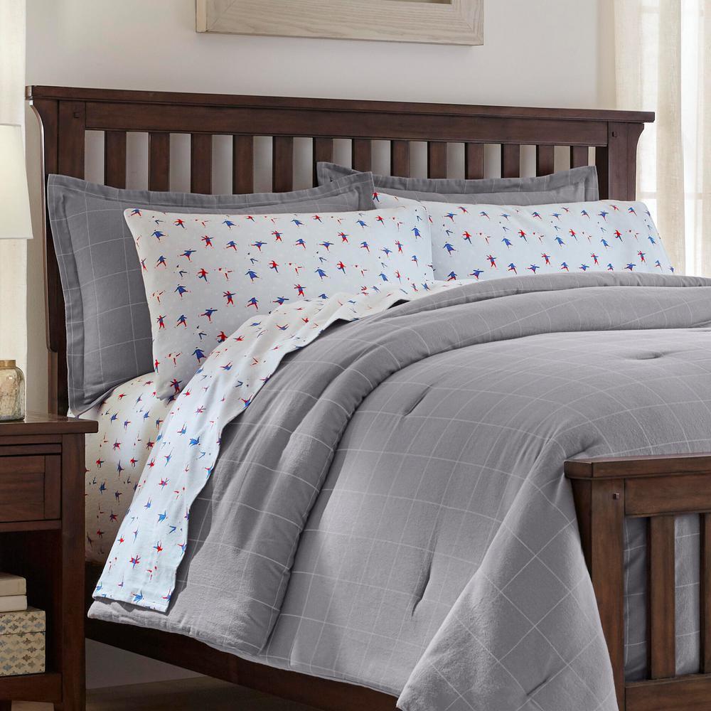 3-Piece Full/Queen Flannel Comforter Set in Windowpane Gray