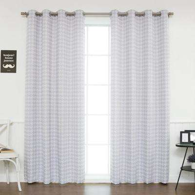 84 in. L Polyester Classic Houndstooth Room Darkening Curtains in Lilac (2-Pack)