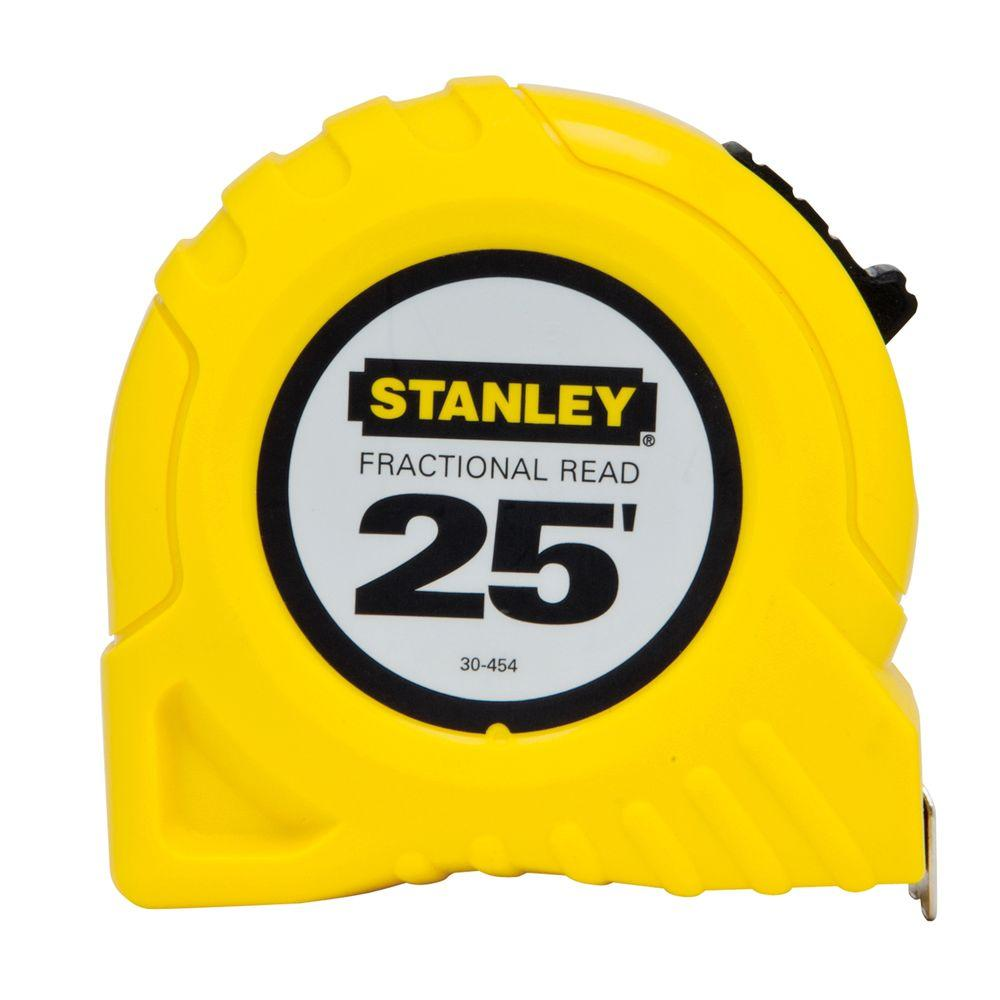 25 Ft X 1 In Tape Measure Fractional Read Scale 30 454 The Stanley Basic 5m 16