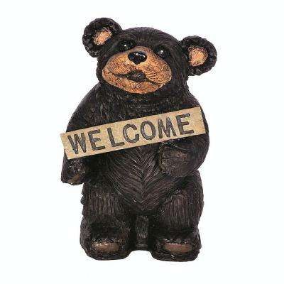 13 in. Mountain Black Bear Holding Welcome Sign Animal Statue