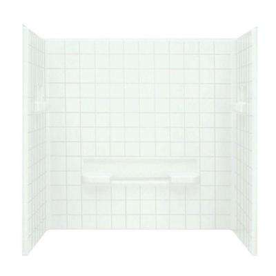 Advantage 35-1/4 in. x 60 in. x 59-1/4 in. 3-piece Direct-to-Stud Shower Wall Set in White