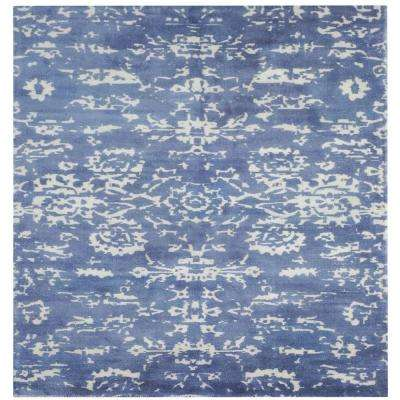 Senneh Blue and White Printed 6 in. x 6 in. Square Indoor Area Rug