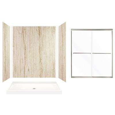 Expressions 32 in. x 60 in. x 72 in. Center Drain Alcove Shower Kit with Door in Sorento and Nickel Hardware