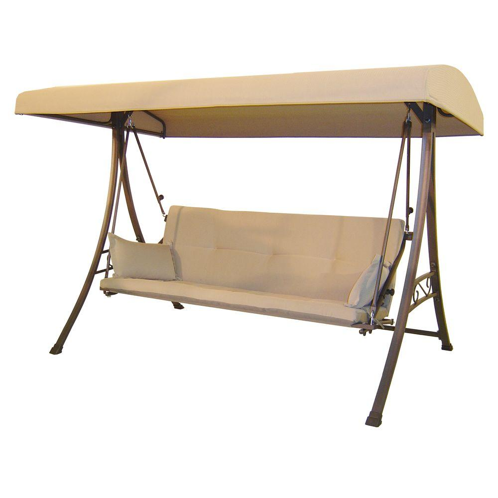 Hampton Bay 3-Person Futon Patio Swing