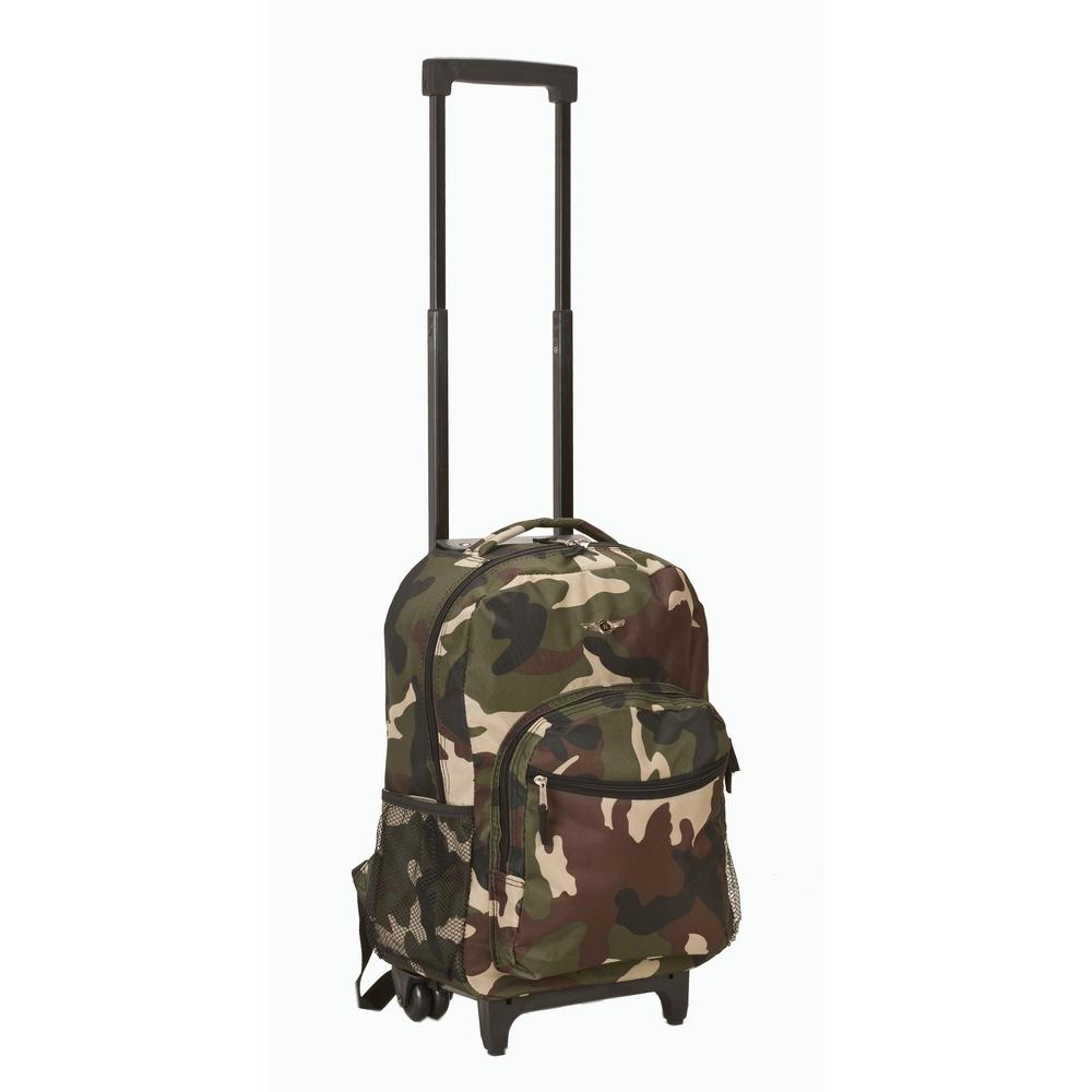 Rockland 17 in. Camo Rolling Backpack-R01-CAMO - The Home Depot