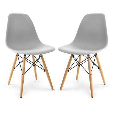 Vortex Harbor Grey Side Chair with Natural Legs (Set of 2)