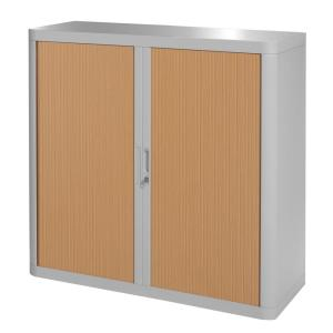 Paperflow easyOffice 41 in. Tall Grey and Beech Storage Cabinet with 2-Shelves
