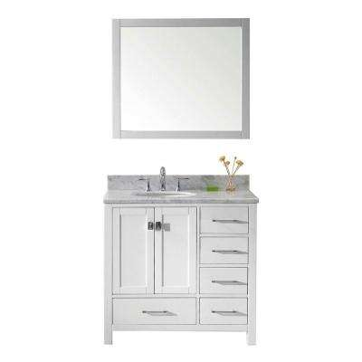 Caroline Avenue 36 in. W Bath Vanity in White with Marble Vanity Top in White with Round Basin and Mirror