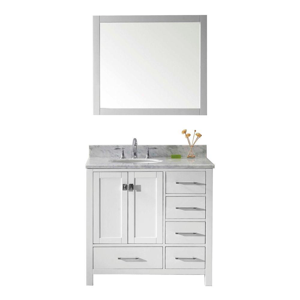 Virtu USA Caroline Avenue 36 in. W x 22 in. D x 33.46 in. H White Vanity With Marble Vanity Top With White Round Basin and Mirror