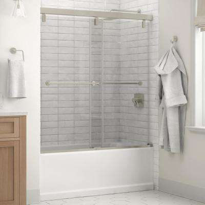 Everly 60 x 59-1/4 in. Frameless Mod Soft-Close Sliding Bathtub Door in Nickel with 1/4 in. (6mm) Clear Glass