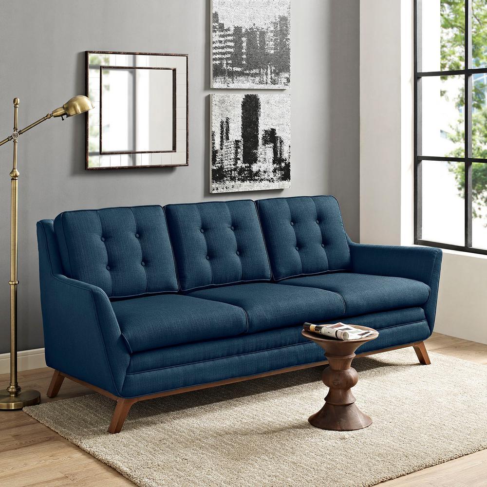 Beguile Azure Upholstered Fabric Sofa