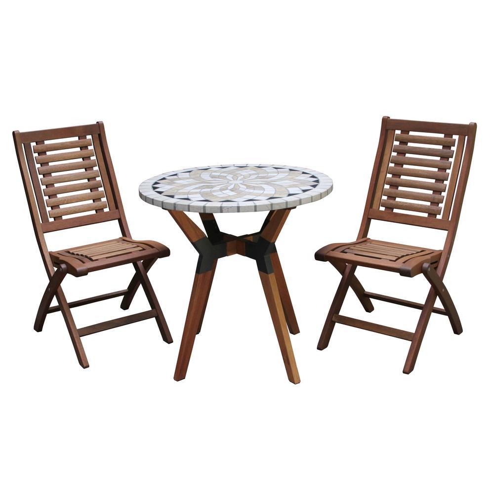 3-Piece Spanish Marble and Eucalyptus Outdoor Bistro Set