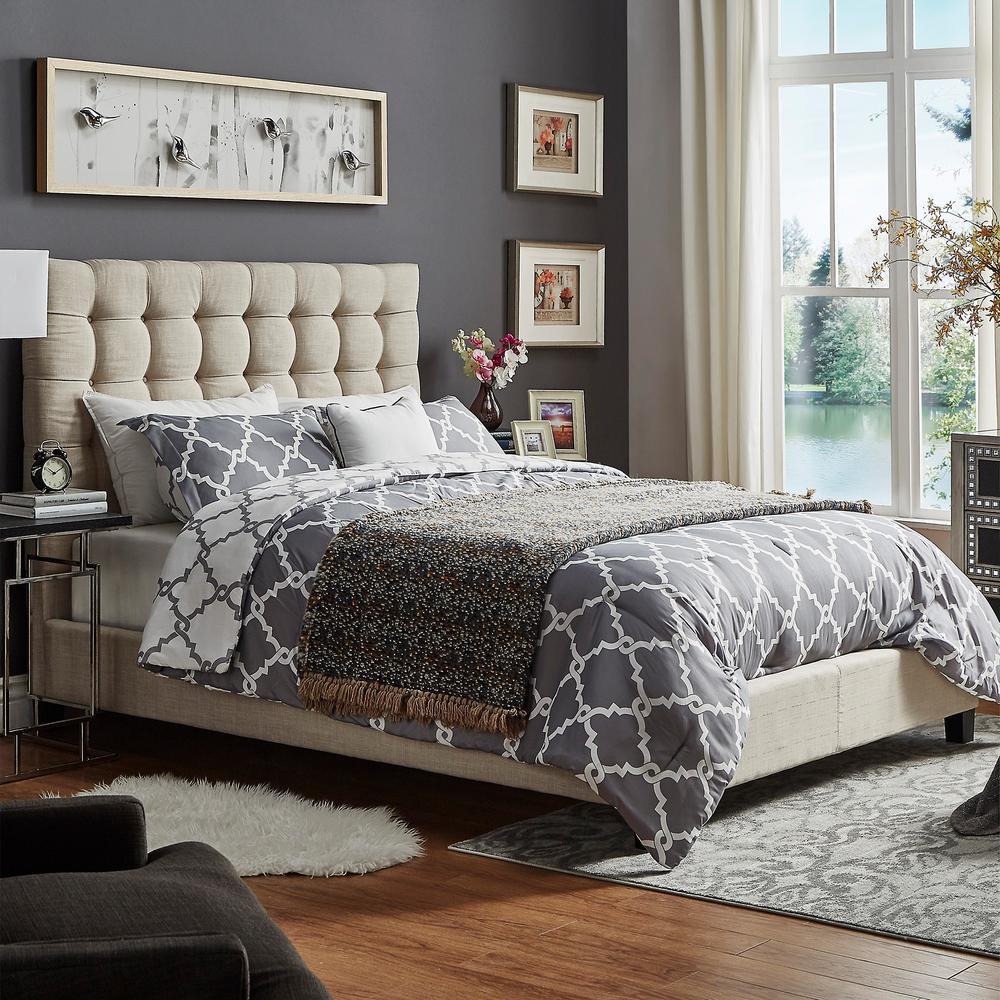 Cadley Beige Button Tufted Full Platform Bed