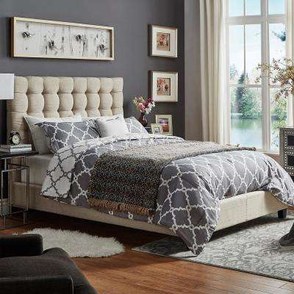 Cadley Beige Button Tufted Queen Standard Bed