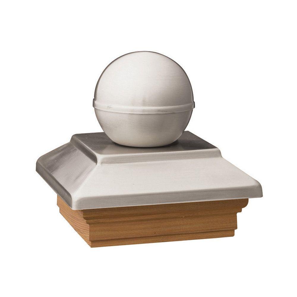 6 in. x 6 in. Pressure-Treated Pine Polished Stainless Ball Top