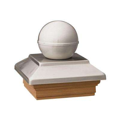 6 in. x 6 in. Pressure-Treated Pine Polished Stainless Ball Top Post Cap