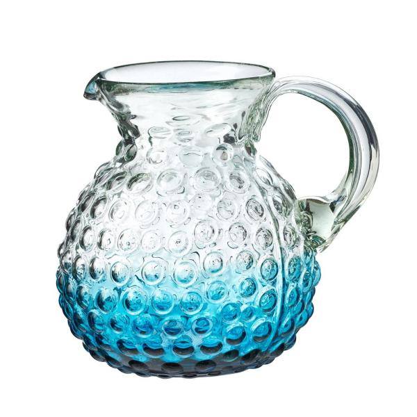 Amici Home Catalina 80 oz. Aqua Glass Hobnail Pitcher with Ombre