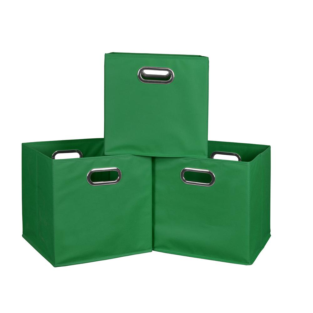 Cubo 12 in. x 12 in. Green Foldable Fabric Bins (3-Pack)