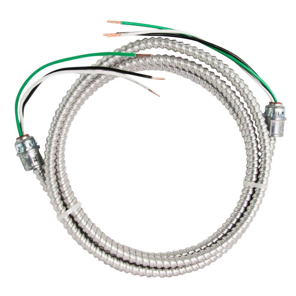 Southwire 12/2 x 8 ft. Stranded CU MC (Metal Clad) Armorlite Modular Assembly Quick Cable Whip