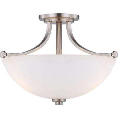 3-Light Brushed Nickel Semi-Flush Mount Light with Frosted Glass Shade