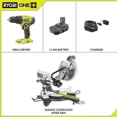 15 Amp 10 in. Sliding Compound Miter Saw and 18-Volt Cordless ONE+ 1/2 in. Drill/Driver Kit w/(1)1.5 Ah Battery, Charger