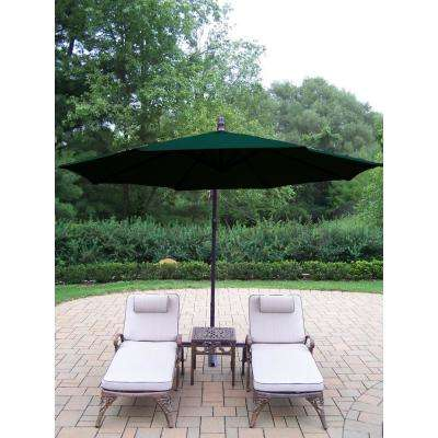 4-Piece Aluminum Patio Chaise Lounge Set with Tan Cushions and Green Umbrella