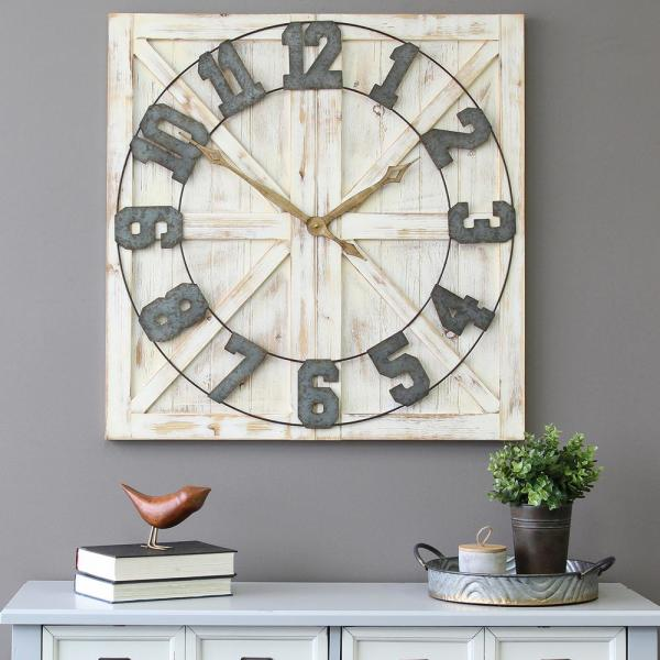 White Rustic Farmhouse Wall Clock
