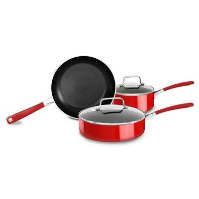 Aluminum Nonstick 5-Piece Empire Red Cookware Set with Lids